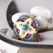 20MM Unregelmäßiger Druckknopf Versilbert mit Strass und kleinen Perlen KB6381 Multicolor