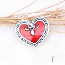 20MM loveheart snap silver Plated with red enamel  KC7741 snaps jewerly