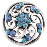 Diseño 20MM complemento chapado en plata antigua con diamantes de imitación cian KC8727 broches de joyería