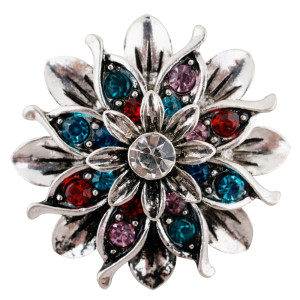 20MM Flower snap silver Plated with colorful Rhinestones KC7661 Multicolor