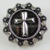 20MM Cross snap Antique Silver Plated with rhinestone KB8719 snaps jewelry