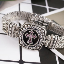 20MM Cross snap Antique Silver Plated with pink rhinestone KB8771 snaps jewelry