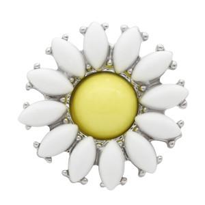 20mm girasol botón circular plateado dibujo y esmalte KC9910 botón joyería