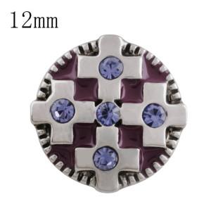 12MM cross snap with purple Rhinestone and purple Enamel KS5207-S interchangeable snaps jewelry