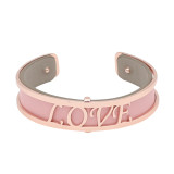 Copper Bangle with real leather Pink/gray double side TA7027