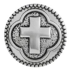 Кнопка 20MM с крестообразной застежкой Античная посеребренная KC5530 оснастка