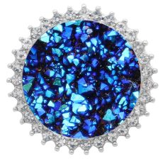 25MM Artificial Crystal opal blue  snap Silver Plated with Rhinestone KC7983