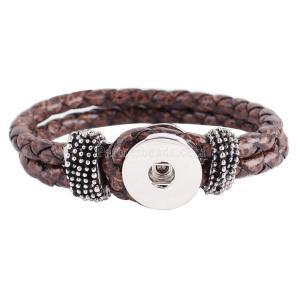 Partnerbeads 22CM 1 bracelets doubles tressés snap fit snaps chunks marron en cuir artificiel KC0212 Accessoire Snap Bijoux Interchangeables