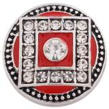 20MM round snap Antique Silver Plated with Rhinestone and red Enamel KC8777 snaps jewelry