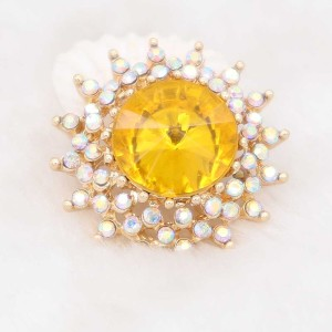 20MM design snap gold Plated with yellow rhinestone KC6936 snaps jewelry