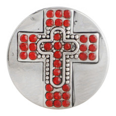 20MM cross snap button Antique Silver Plated with red Rhinestone KC9748 snap jewelry