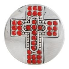 Bouton pression croix 20MM Argent antique plaqué avec strass rouge KC9748 bouton pression