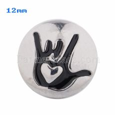 12mm Love snaps Silver Plated with black Enamel KS5050-S snap jewelry