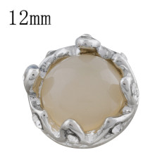 12MM Crown snap sliver Plated with Light yellow bead KS9706-S snaps jewelry
