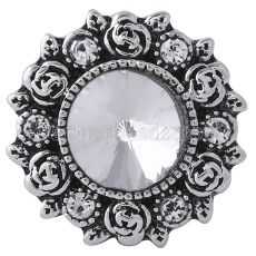 20MM Flower snap Silver Plated with white rhinestones KC6071 snaps jewelry
