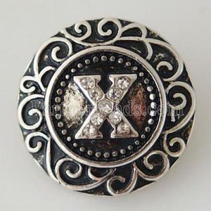 20MM Inglés alfabeto-X complemento Chapado en plata antigua con diamantes de imitación KB6277 broches de joyería