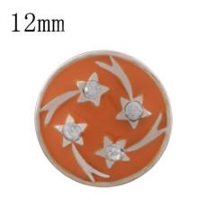 Звезда 12MM из розового золота, покрытая стразами и оранжевой эмалью KS6339-S
