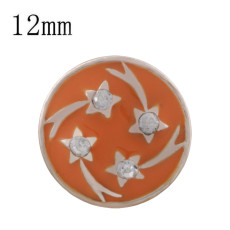 12MM star rose gold Plated with  rhinestone and orange enamel KS6339-S
