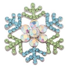 20MM Christmas snow flake snap Silver Plated with  Rhinestone KC8772 snaps jewelry