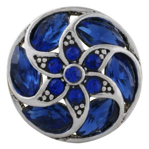 20MM design snap Antique Silver Plated with deep blue Rhinestone KC8689