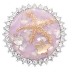 25MM  Glossy  Starfish Amber snap Silver Plated KC7967 purple