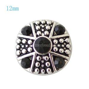 12MM Broche de plata antiguo plateado con diamantes de imitación negros KB7233-S broches de joyería