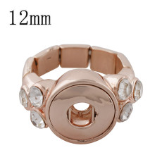 12MM snaps adjustable rose gold Ring with Rhinestone KS1190-S snaps jewelry