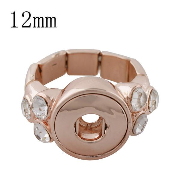 12MM s'enclenche réglable bague en or rose avec strass KS1190-S s'enclenche bijoux