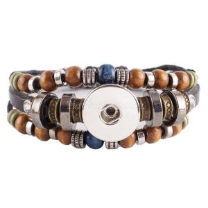 1 buttons Multilayer leather with beads and Rhinestones KC0235 new type bracelets fit 20mm snaps chunks