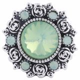 20MM Flower snap Silver Plated with green rhinestones KC6069 snaps jewelry