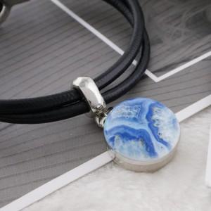 Boutons-pression en métal peint en marbre 20MM C5061 bleu imprimé