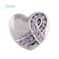 12mm ribbon snaps Silver Plated with purple rhinestone KS5091-S snap jewelry