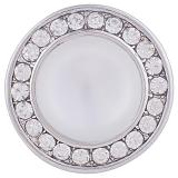 20MM Round snap Silver Plated with clear rhinestone and white Opal KB6058 snaps jewelry
