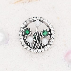 20MM Botany snap Silver Plated with white rhinestone KC7900 snaps jewelry