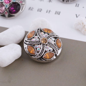 20MM design snap silver Antique plated with orange  rhinestone KC5351 snaps jewelry