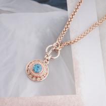 12MM broche redondo de oro rosa con diamantes de imitación azules KS8066-S broches de joyería
