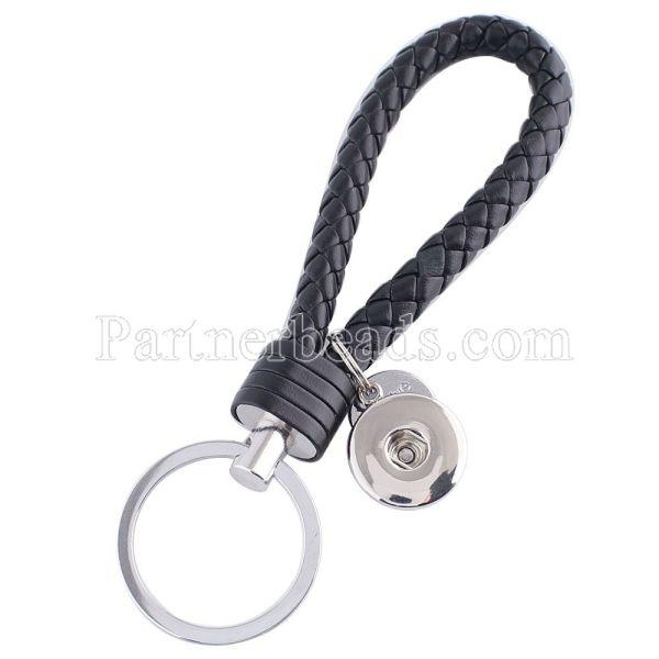 Llavero de cuero de la PU Llavero con botón en forma de broches de presión KC1120 Broches de joyería