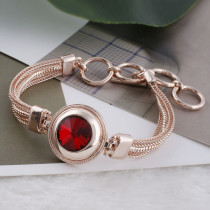 20MM round snap Rose-Gold Plated with red Rhinestone KC9764 snaps jewelry