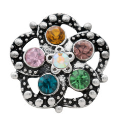 20MM flower snap antique silver plated multicolor rhinestone KC7695 snap jewelry