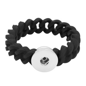 1 snap button kid junior style bracelet with 12mm width silicone stretch fit 18-20mm snaps