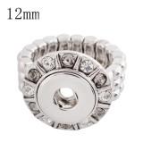 12MM snaps adjustable Ring with Rhinestone KS1123-S snaps jewelry