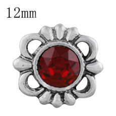 12MM design snap sliver plated with red Rhinestone KS6299-S snaps jewelry