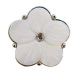 20MM Flower Snap versilbert mit weißen Strasssteinen und Muschel KC9901 schnappt edel