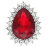 Diseño 20MM chapado en plata con diamantes de imitación rojos KC9919 broches de joyería