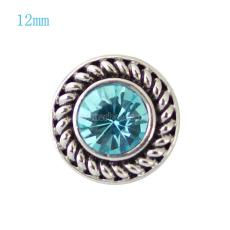12MM Round snap Antique Silver Plated with blue rhinestone KB7241-S snaps jewelry