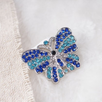 20MM butterfly snaps with blue rhinestone KB7046 snaps jewelry