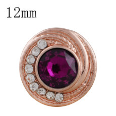 12MM round Rose Gold Plated with rose rhinestone KS6285-S snaps jewelry