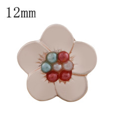 12MM Flower snap Rose Gold Plated with colorful beads KS9711-S snaps jewelry