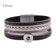 Partnerbeads 7.8 pouces bracelets en cuir bouton pression 1 adapter 12mm s'enclenche KS0633-S
