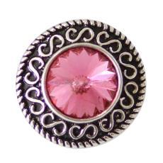 20MM защелкивает кусочки с помощью розово-красного горного хрусталя со сменными украшениями